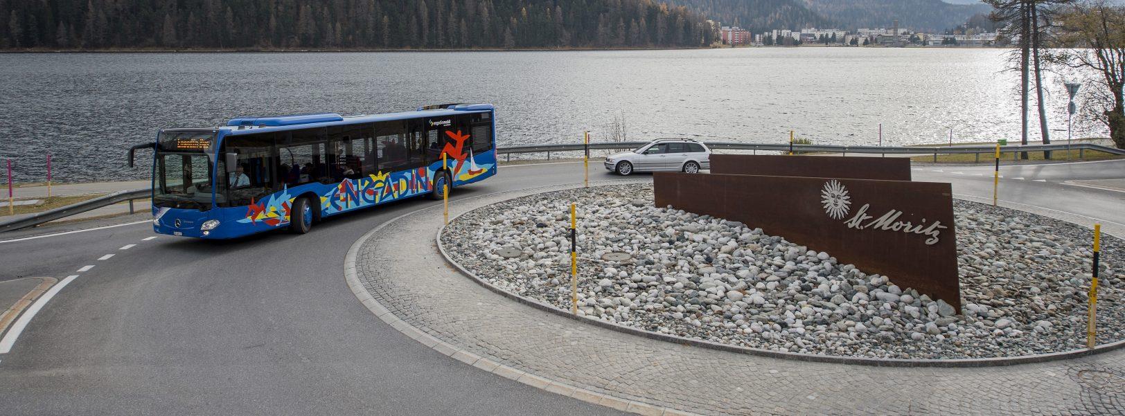 Engadin Bus Kreisel St. Moritz